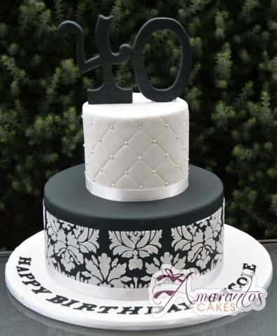 Two Tier Designer Black and White Cake - Amarantos Designer Cakes Melbourne