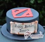 Dota Logo Themed Cake - Amarantos Designer Cakes Melbourne