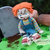 Grave Site with Chucky Cake - Amarantos Designer Cakes Melbourne