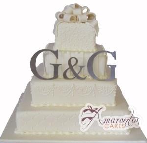Four Tier Squares - WC17 - Amarantos Wedding Cakes Melbourne