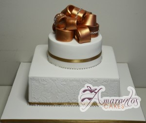 Two Tier With Golden Ribbon Cake - Amarantos Designer Cakes Melbourne