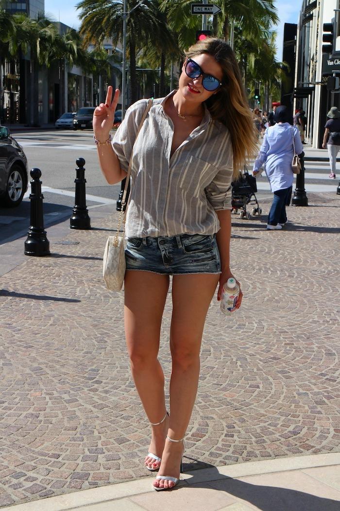 rodeodrive amarás la moda camisa de rayas sandalias plata zara michael kors bag 7