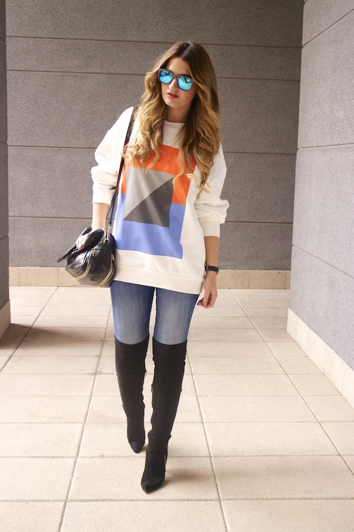 sudadera Zara abstracta botas pilar burgos prada bag amaras la moda 4