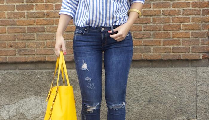 striped blouse michael kors bag chloe borel shoes 7