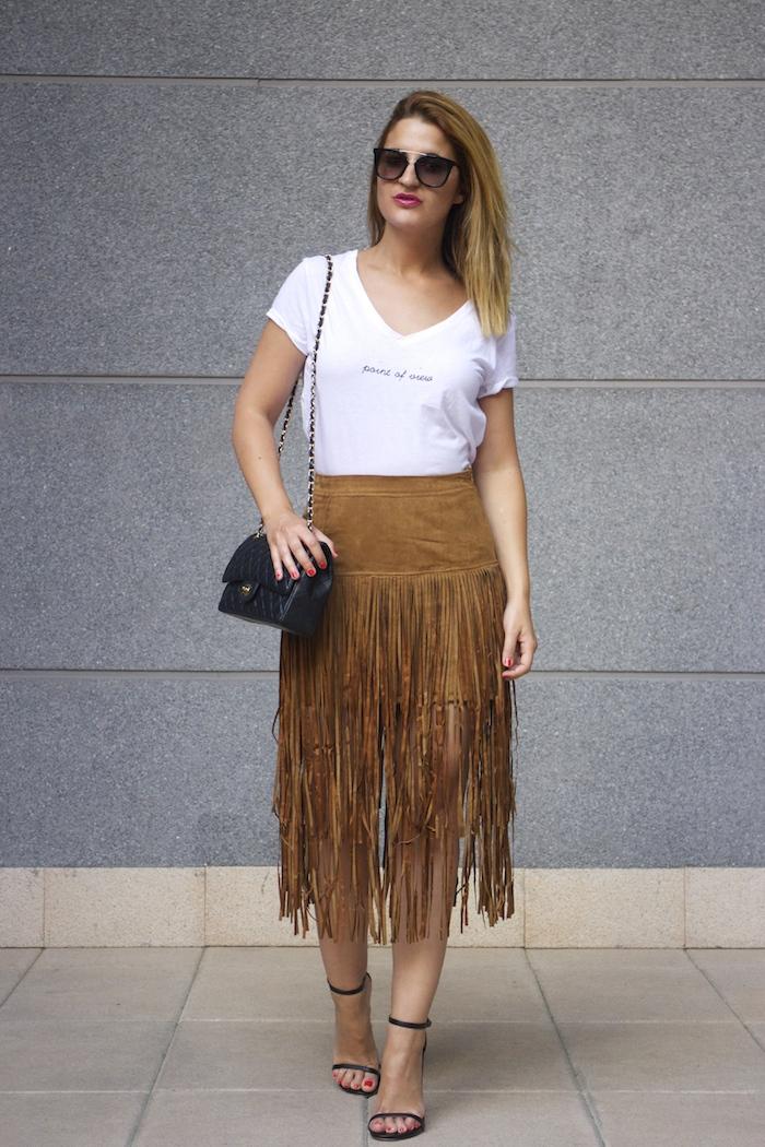 JustFab falda flecos sandalias chanel bag Prada sunnies amaras la moda Paula Fraile  9