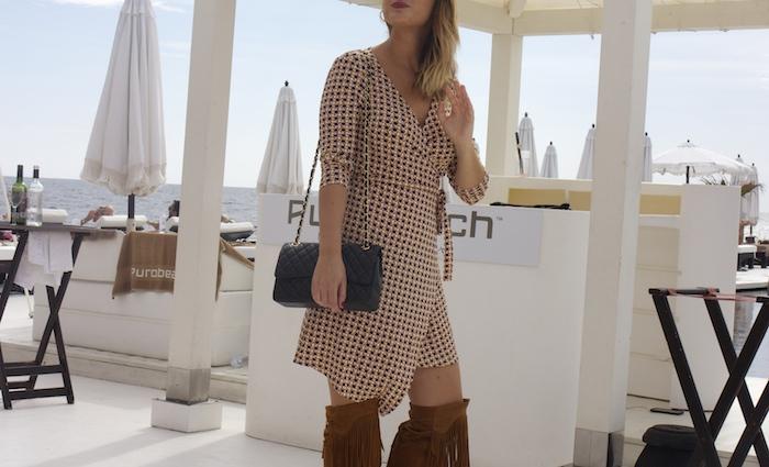 justfab dress amaras la moda zara boots chanel bag Puro Beach Palma de Mallorca Paula Fraile 3