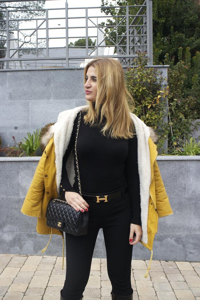 hermes belt sheinside parka chanel bag pilar burgos boots Amaras la moda Paula Fraile