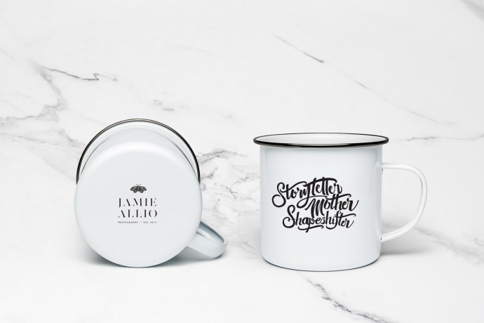 Enamel Mug Design and Brand Identity Design for Photographer Jamie Allio by Amarie Design Co.
