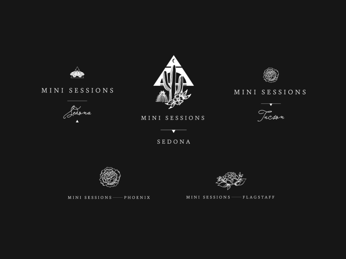 Mini Session Logos with Hand Drawn Illustrations and Brand Identity Design for Photographer Jamie Allio by Amarie Design Co.