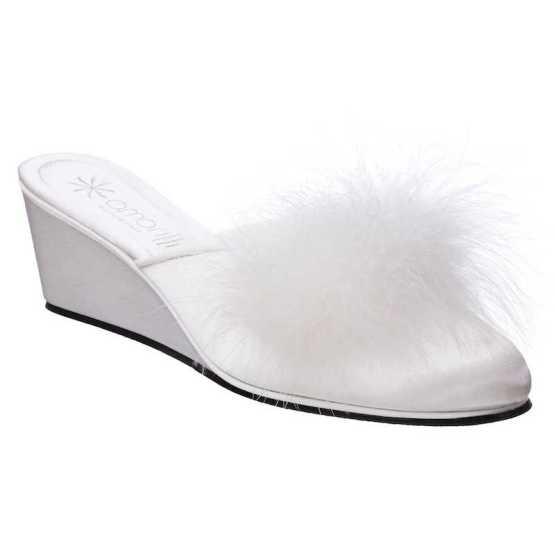 Pantofole da Sposa Beatrice Bianca con Marabou