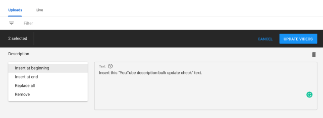 bulk update YouTube description options
