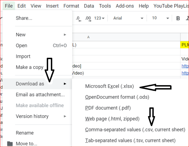 How to export youtube playlist to CSV or Excel - Amarindaz