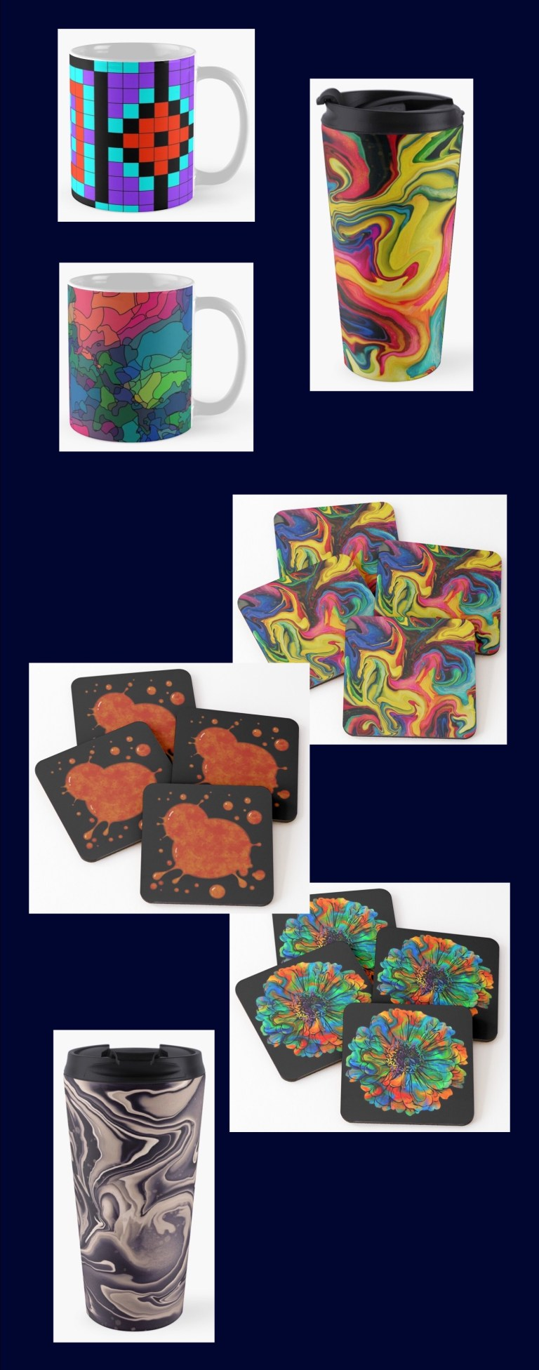 Mugs, travel cups, and coasters, each one available in up to 25 of my designs.