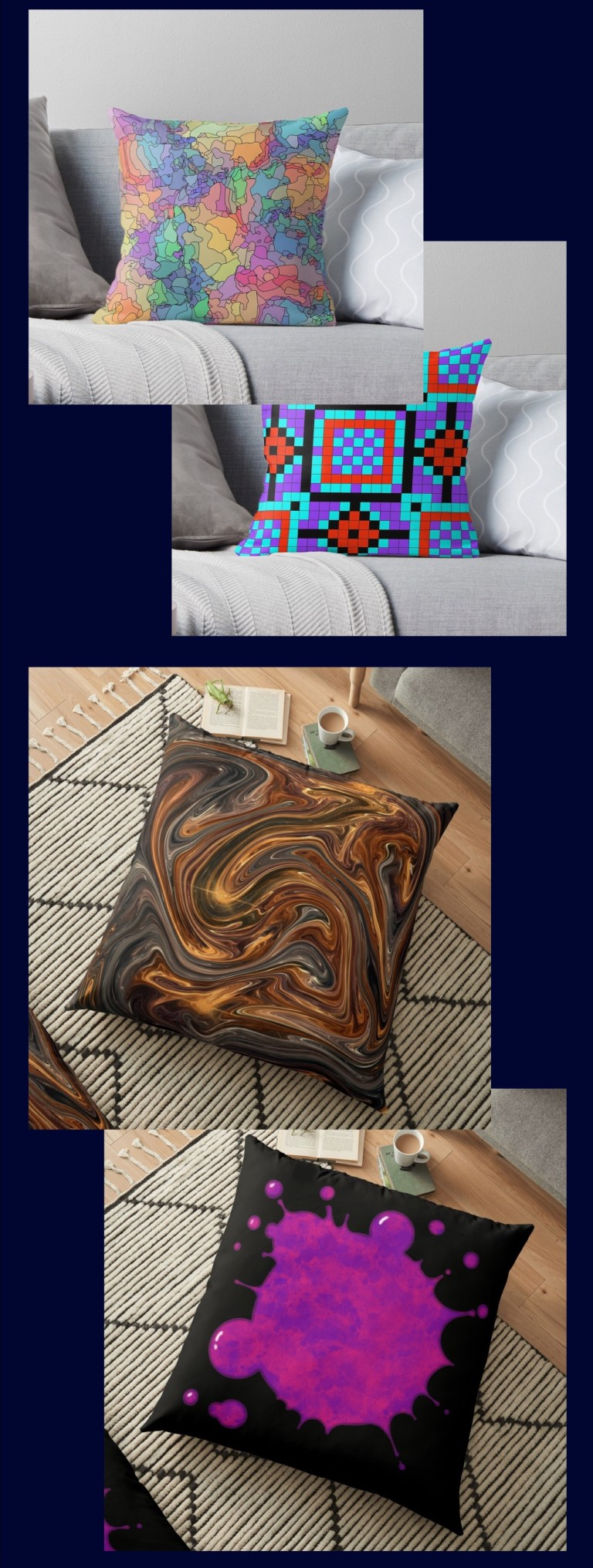 Pillows and pillow covers in several sizes including floor pillows, each one available in up to 25 of my designs.