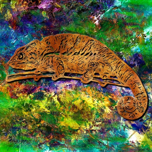 Chameleon digital painting, with a background scanned from actual paint.