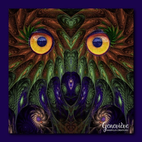 Owl photo superimposed on  a fractal design.