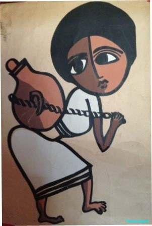 A naive painting from Ethiopia of a woman carrying water