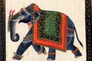 An elephant decorated with fringes, bangles and patterned cover proceeds right to left as a bookend illustration