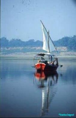 Idyllic-view-of-boats-we-used-on-Ganges-sailing-trips-near-Varanasi-India
