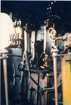 A baffling array of levers and switches on the footplate of a steam engine