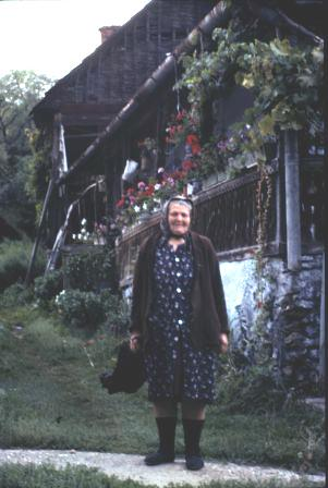An elderly lady who looked forward to our passing through her tiny village on our walks