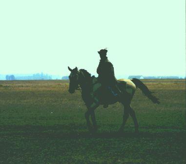 Horseman, in traditional dress, near Hortobagyi, Hungary.