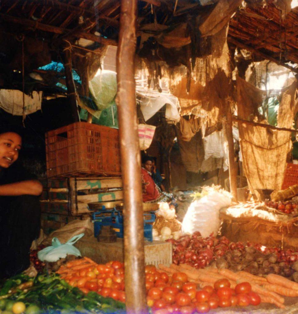 A normal market day in lowland Yemen, after rain