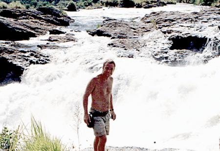 Steve McHardy preparing for a refreshing dip