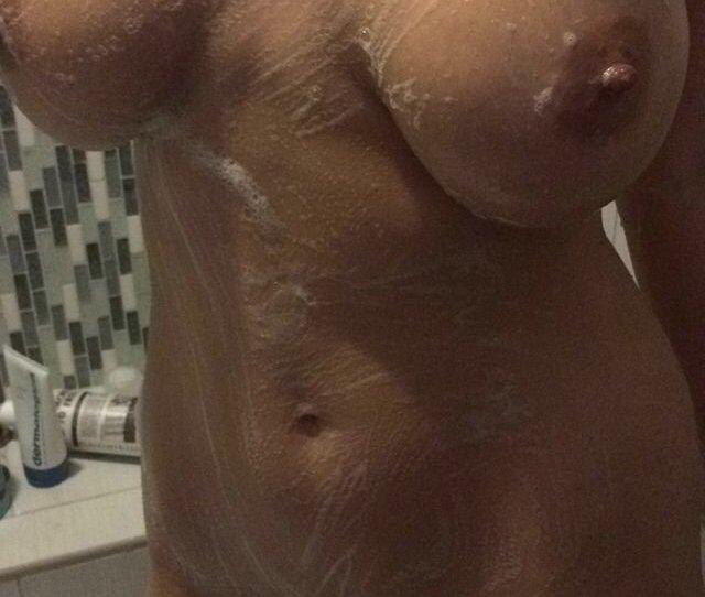 Soapy Naked Big Breast Girl Shower Selfie