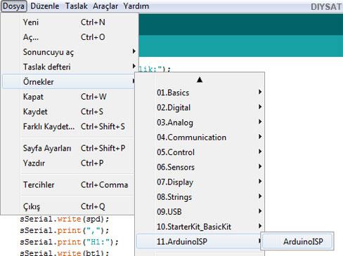 Resim-4. Arduino IDE üzerinde Arduino ISP menüsü.