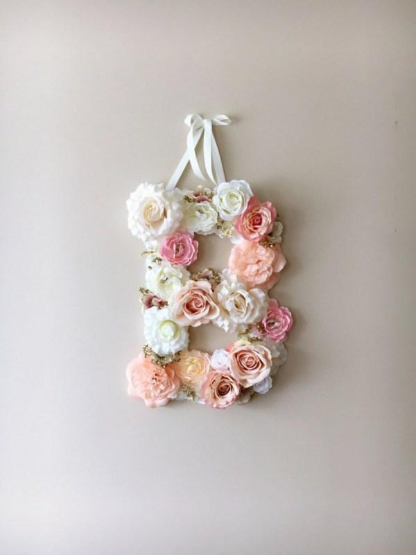 MSDAVF014 – Light Pink Custom Flower Letter -PINK