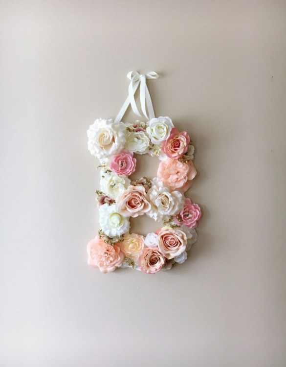 Completely handmade, the Light Pink Custom Flower Letter is a great for decoration at a wedding using the couples initials, and a lovely keepsake for afterwards.