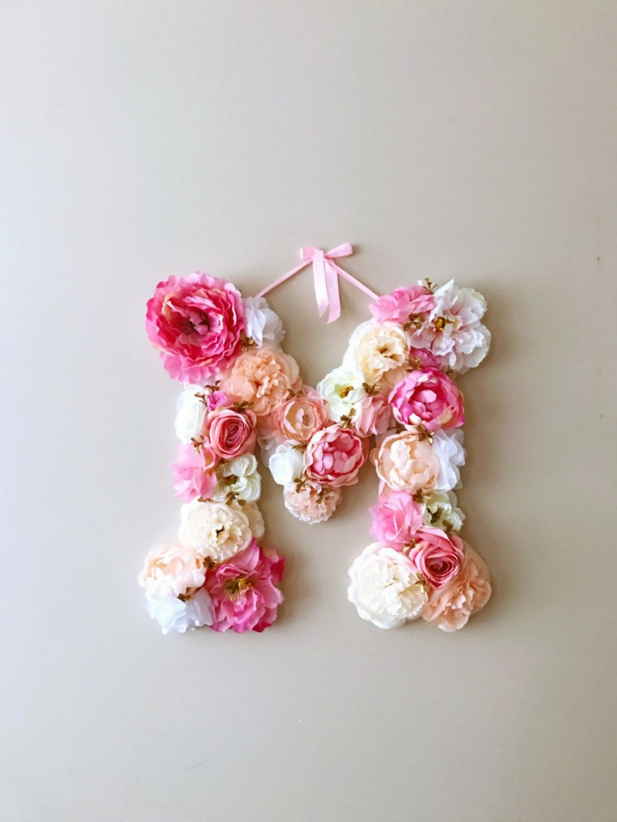 MSDAVF020 – Bright Coral Pink Custom Flower Letter – PINK