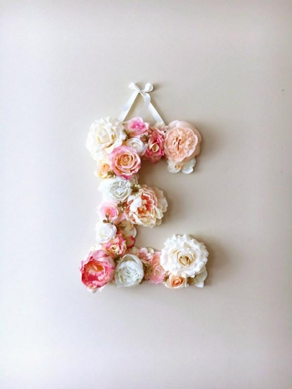 MSDAVF021 – Pink and Cream Custom Flower Letter – PINK
