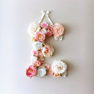 Completely handmade, the Pink and Cream Custom Flower Letter is a great for decoration at a wedding using the couples initials, and a lovely keepsake for afterwards.