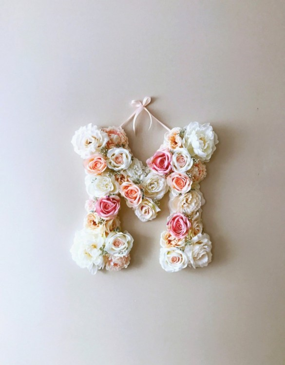Completely handmade, the Light and Ballet Pink Custom Flower Letter is a great for decoration at a wedding using the couples initials, and a lovely keepsake for afterwards.