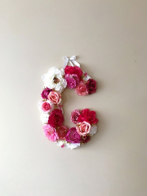 MSDAVF030 – Pale Pink and White Custom Flower Letter – PINK