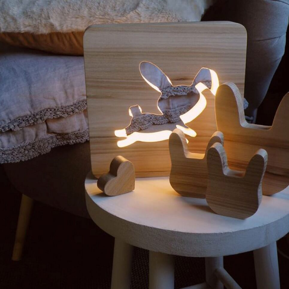 MSHWLH007 – Rabbit Nursery Lamp – Elm Wood – 1