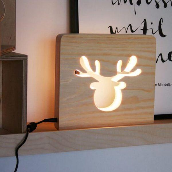 MSHWLH009 – Moose Nursery Lamp – Pine Wood