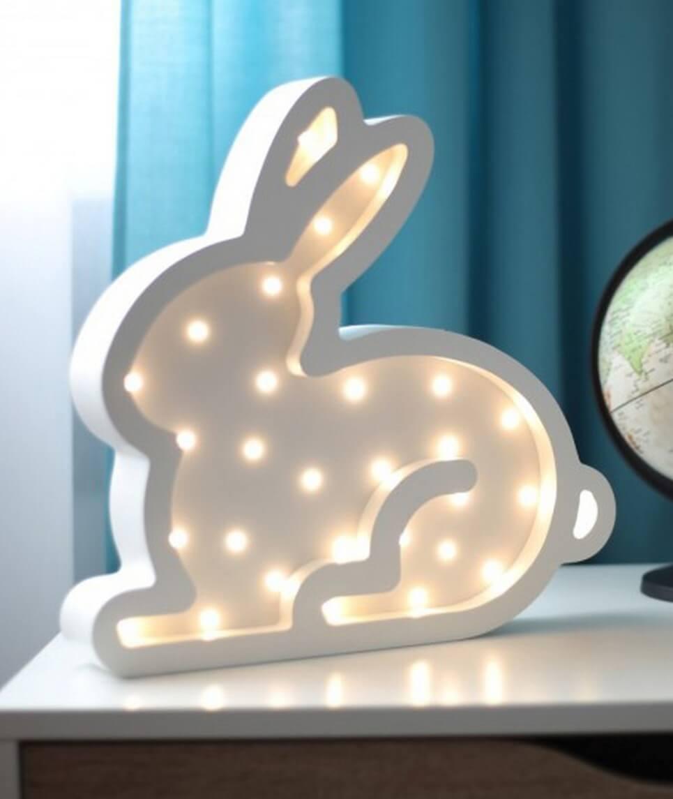 MSHWLH011 – Bunny Wooden Night Light – White