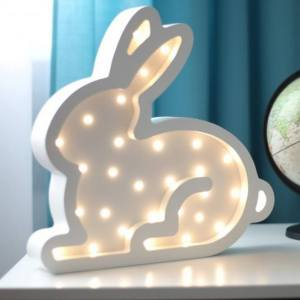 With a charming design, the Bunny Wooden Night Light provides a reassuring glow for your little one, making it perfect for a nursery or kids room nightlight, or an interesting addition to any other space.