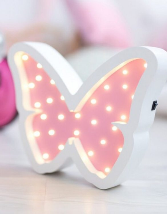 With a charming design, the Butterfly Wooden Night Light provides a reassuring glow for your little one, making it perfect for a nursery or kids room nightlight, or an interesting addition to any other space.