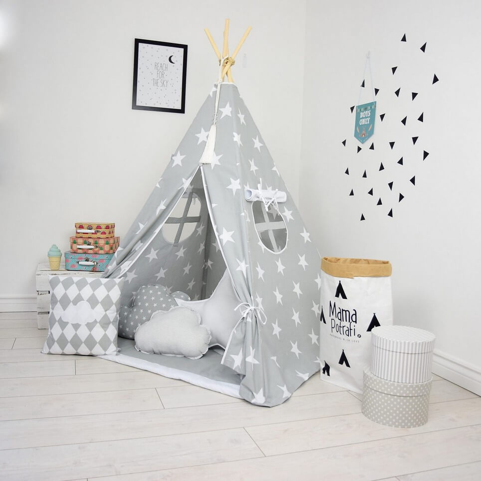 Grey Day Children's Teepee Tent