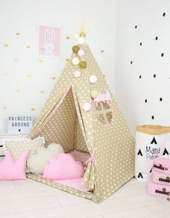 Add the perfect touch to your child's room with the Vanilla Queen Children's Teepee Tent. Let your little enjoy their own teepee for hours of play time and imagination.
