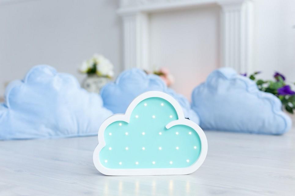 Cloud Wooden Night Light – Light Blue