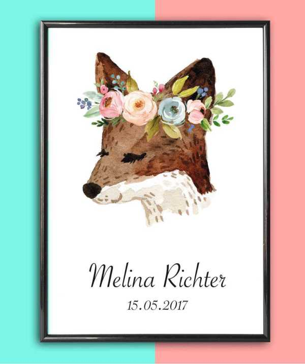 Personalised Name Print Fox With Flowers_2