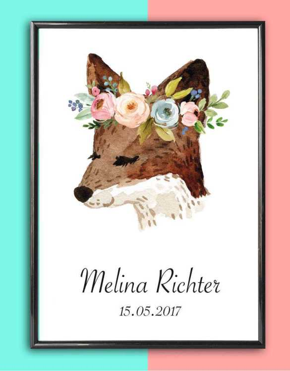 Add some effortless style to your home with the Personalised Name Print Fox With Flowers that will compliment your interior décor.