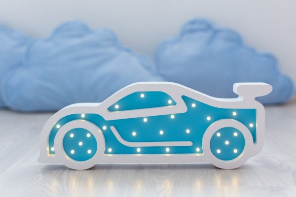 Sportcar Wooden Night Light – Blue