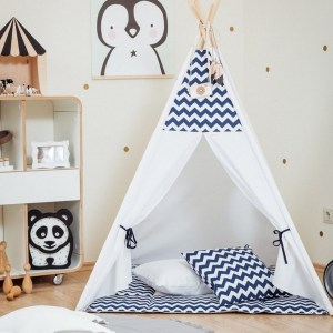 Let your little ones create their own little world with the Blue Chevron Children's Teepee Set. It creates the perfect setting for imaginative role play providing endless hours of fun.