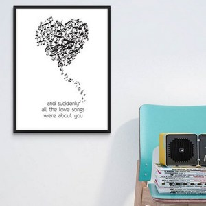 Perfect for any room in the home, the Home Wall Poster - All The Love Songs is a great piece of daily inspiration for your walls.